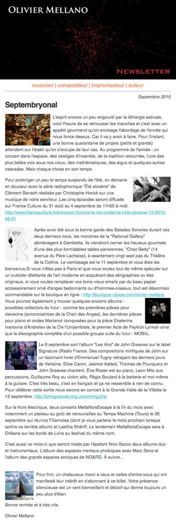 2015-09 Lettre d'info d'Olivier Mellano