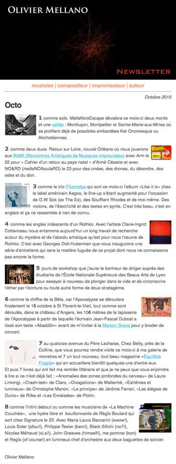 2015-10 Lettre d'info d'Olivier Mellano