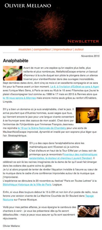 2015-11 Lettre d'info d'Olivier Mellano