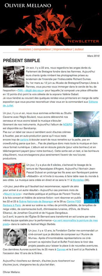 2016-03 Lettre d'info d'Olivier Mellano