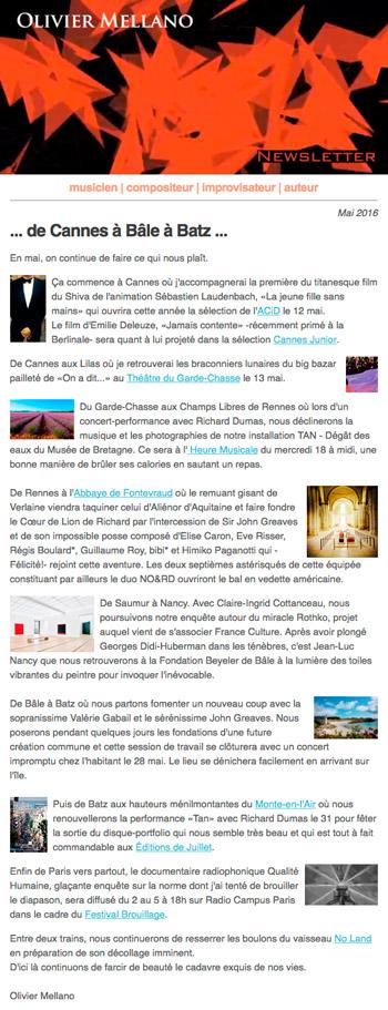 2016-05 Lettre d'info d'Olivier Mellano