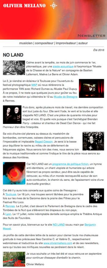 2016-06 Lettre d'info d'Olivier Mellano