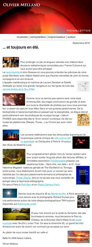 2016-09 Lettre d'info d'Olivier Mellano