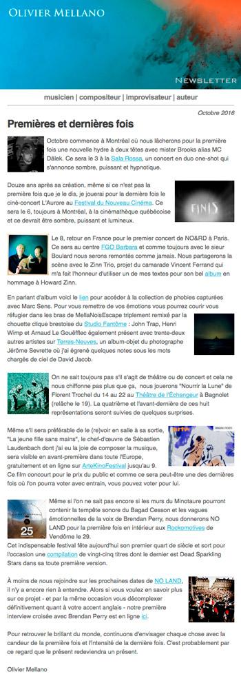 2016-10 Lettre d'info d'Olivier Mellano