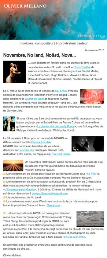 2016-11 Lettre d'info d'Olivier Mellano
