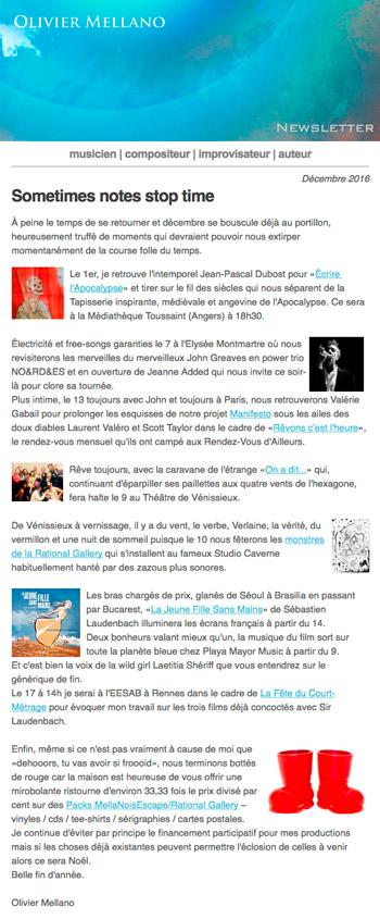 2016-12 Lettre d'info d'Olivier Mellano