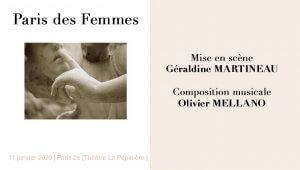 Paris des Femmes de Géraldine Martneau avec O. Mellano - Paris au Théâtre La Pépinière